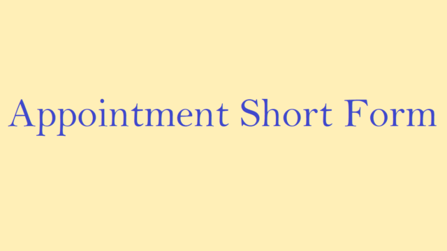 Appointment Short Form