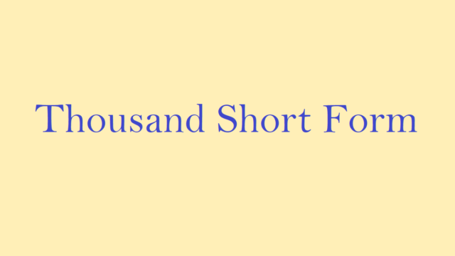 Thousand Short Form